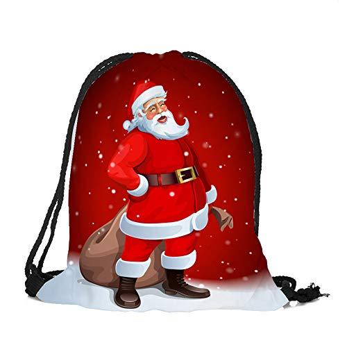 Haodou. Bolsa de Almacenamiento con cordón para la Escuela, Viajes, Compras, PE y Deportes, de la Serie de Navidad