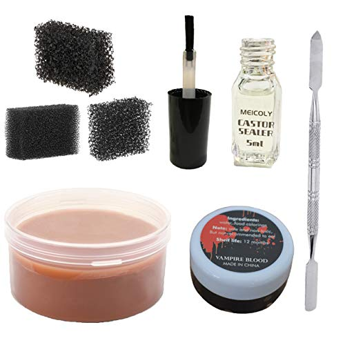 Meicoly Makeup Skin Wax Special Effects Halloween Set Stage Fake Wound Scar,Moulding Scars Wax with Spatula, Black Stipple Sponge,Coagulated Blood Gel,5ml Castor Sealer,01