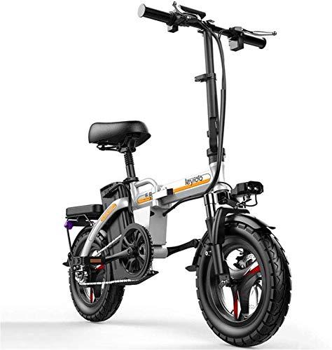 RDJM Bici electrica Bicicletas eléctricas rápida for adultos 48V batería de litio extraíble de 14 pulgadas ruedas llevaron la batería Luz silenciosa del motor plegable ligero portátil con puerto de ca