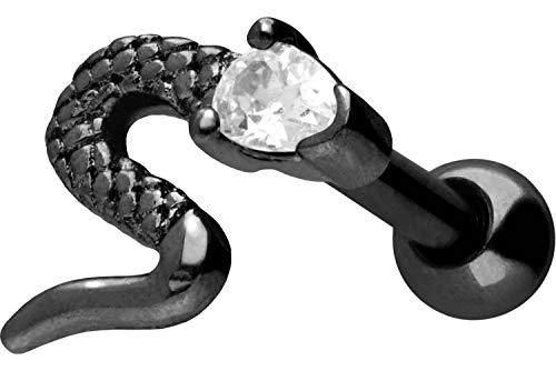 PIERCINGLINE Chirurgenstahl Ohrpiercing | Schlange + Kristall | Ohr Stecker Piercing Schmuck | Farbauswahl