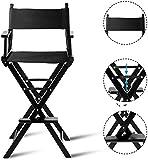 GTON Regiestuhl hoch, Make-up Chair faltbar, Klappstuhl Holz, Faltstuhl mit Seitentaschen, Campingstuhl schwarz