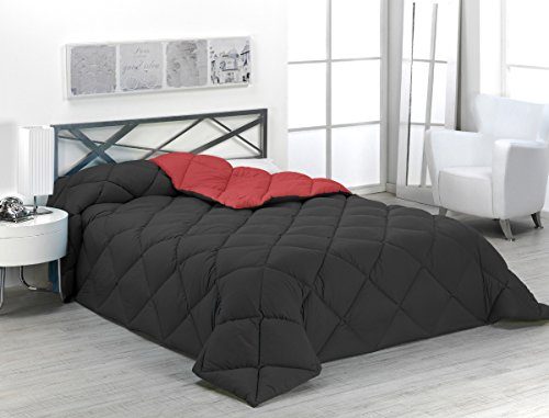 Sabanalia - Edredón nórdico de 400 g reversible (bicolor), para cama de 135/150 cm, color rojo y negro
