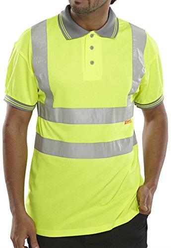 B Seen Long Sleeve Polo Shirt EN471 Hi-Vis Sat/Yellow - XL