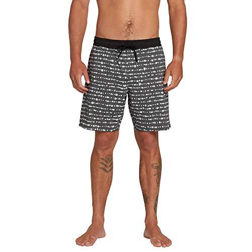 Volcom Herren Boardshorts, gestreift, gepunktet, dehnbar, 45,7 cm - - Medium
