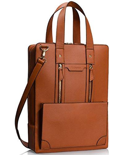 Estarer Women Laptop Bag 15.6 inch Office Briefcase PU Leather Work Satchel Handbag Brown