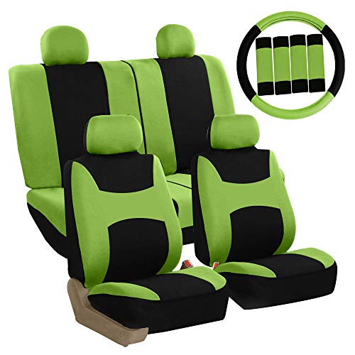 FH Group Stylish Cloth Full Set Car Seat Covers (Airbag & Split Ready) w. Steering Wheel Cover and Seat Belt Pads, Green/Black- Fit Most Car, Truck, SUV, or Van