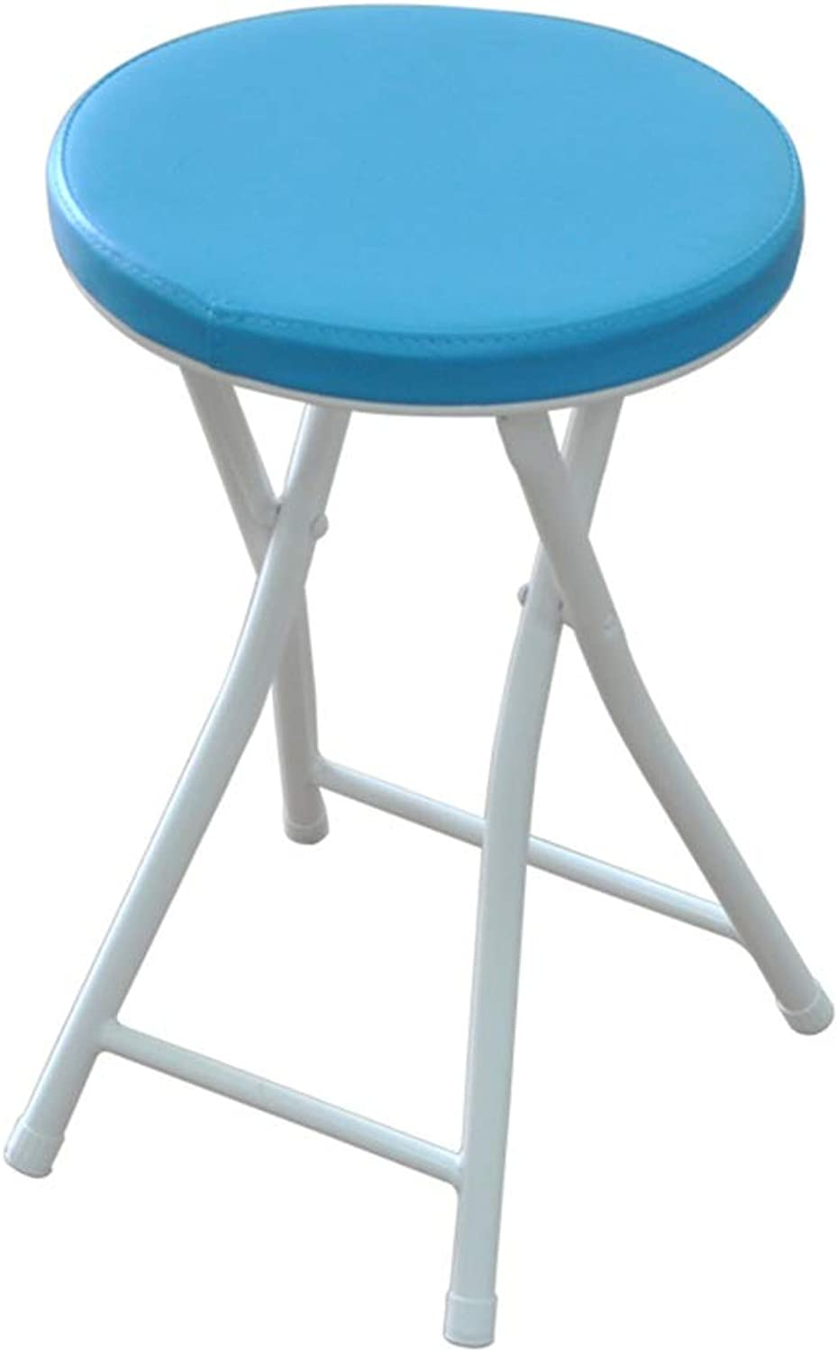 ZAHOYONGLI Chairs,Folding Chairs Padded Folding High Chair Round Breakfast Kitchen Bar Stool Furniture Compact High Chair (color   bluee is 50cm high)