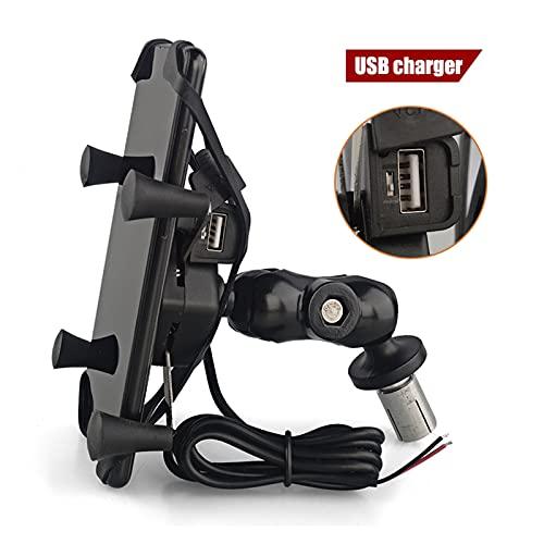 wuli Store Soporte de teléfono Fork Stem Stem Soporte Motorycle GPS Soporte de navegación FIT para Yamaha YZF R1 2002-2017 R6 2006-2017 R1M USB Cargador (Color : with USB Charger)