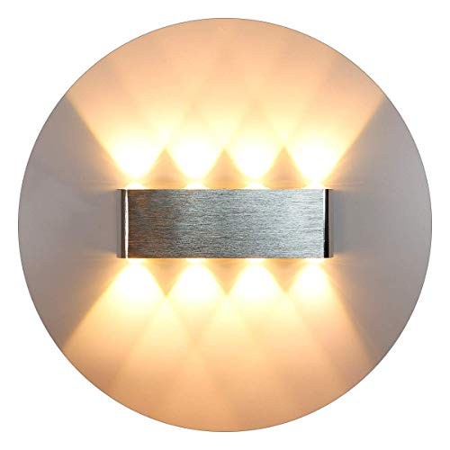 KAWELL 8W Modern Wall Light LED Wall Lamp Aluminum Alloy Up and Down Light Source Wall Sconce for Indoor Bedroom Corridor Living Room Stairs KTV Warm White