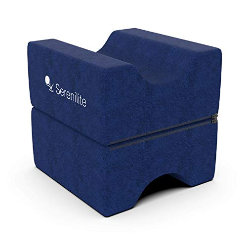 Serenilite Cooling Memory Foam Layered Contour Knee Pillow & Leg Rest - Great for Knee, Leg, Back, Joint, Ankle, Sciatica Pain Relief - Optimal Leg Support & Great for Pregnancy - Plush Velour Cover