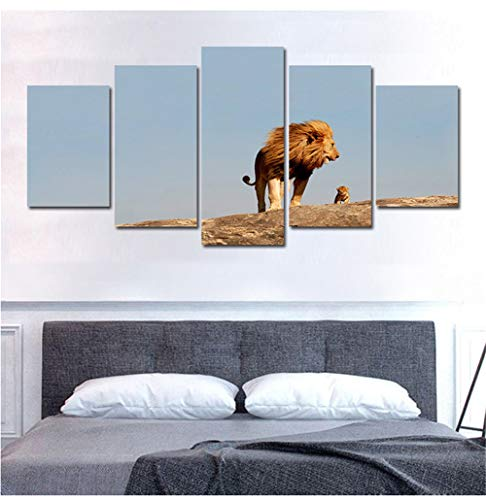 Neyouyou Impression sur Toile 100X55cm - 5 Parties - Image sur Toile - Images - Photo - Tableau - Motif Moderne - Décoration - (sans Cadre)-Lion,A,100X55cm