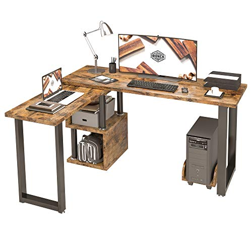 IRONCK Industrial L Shaped Desk Computer, 360 Degree Free Rotated Corner Desk Computer Table with Shelf and PC Stand, Wood Look Table for Working, Studying, Writing, Gaming Vintage Brown