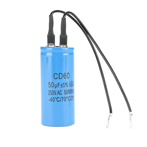 Condensador de funcionamiento CD60 con cable, 250 V CA 50 uF 50/60 Hz Condensador de arranque de motor con excelentes propiedades eléctricas para compresor de aire de motor
