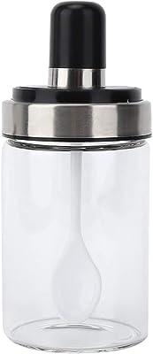 Seasoning Pot Transparent Glass Jar Spice Jars with Spoon Oil Sugar Spices Seasonings