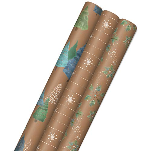 Hallmark Holiday Sustainable Kraft Gift Wrap with Cut Lines on Reverse (3 Rolls: 90 sq. ft. ttl) Wintry Nature: White Snowflakes, Blue and Green Foliage, Christmas Trees