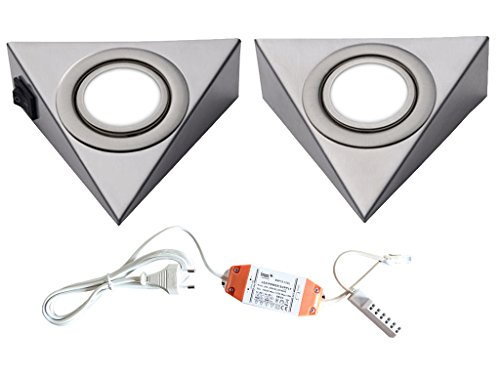 LED Unterbauleuchte Pira Dreieckstrahler 2er - 5er Set Küchen- und Vitrinenleuchte Vitrinenlampe neutralweiß Anbauleuchte Anbaulampe Beleuchtung Küchenleuchte Küchenlampe Unterbaulampe Unterbau Möblelleuchte (2er Set)