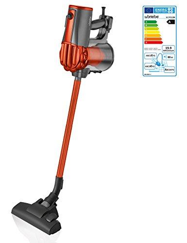 briebe V-Cyclon - Aspirador ciclónico Escoba sin Bolsa Potente, Uso Vertical y de Mano, 600W, Radio acción 6,5 m, Color Naranja