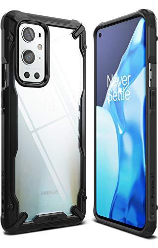 Ringke Fusion-X Kompatibel mit OnePlus 9 Pro Hülle Handyhülle Durchsichtig Rückseite mit Handyanhänger Loch im Rand - Schwarz