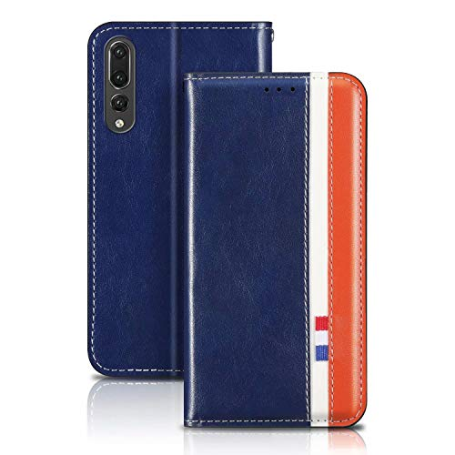 YaMiDe Case Compatible for Huawei P40 Lite Case, Compatible with Huawei Nova 6SE and Nova 7i, Premium PU Leather case, Inner Magnetic Closure, Met beugelfunctie, Blue with brown