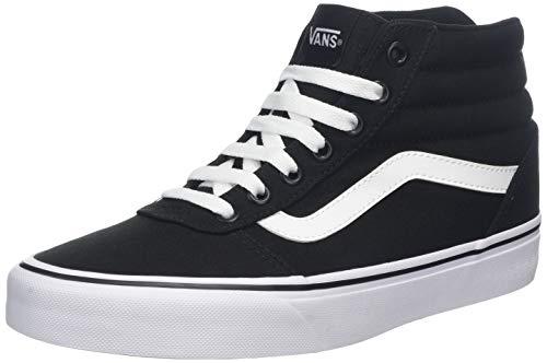 Vans Ward Hi Mujer, Zapatillas Altas, Negro (Canvas) Black/White 187, 39 EU