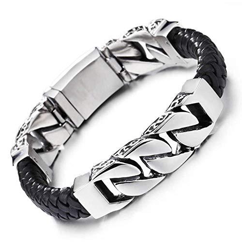 Heren Armband Echt Leer roestvrij staal, Ketting Lengte 22cm, Religieuze Totem Persoonlijke Armband, Een geschenk aan uw vrienden, Of uw familie