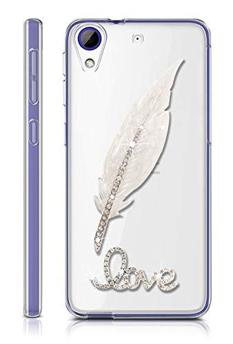 Sunrive Für HTC Desire 650/628 / 626 / 626G Hülle Silikon, Glitzer Diamant Strass Transparent Handyhülle Schutzhülle 3D Etui handycase Hülle (Feder) MEHRWEG