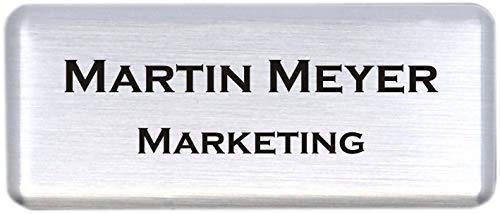Schmalz Werbeservice Aluminium - Kunststoff-Namensschilder inkl. Namensdruck/Gravur mit Magnet silberfarbig Größe 60x25 mm (Silber gebürstet)