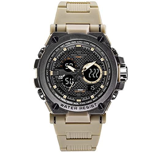 WNGJ Reloj de Cuarzo de Deportes Multifuncional de la aleación de la aleación Multifuncional de los Hombres, Reloj de Cuarzo de la Moda de Alta Gama Luminosa Light Beige