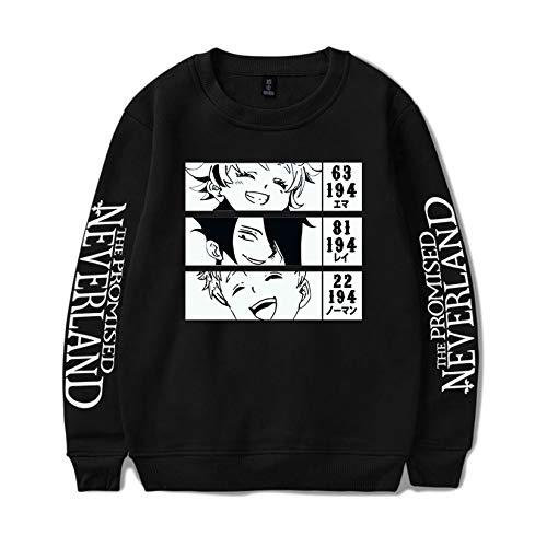 Novo anime The Promised Neverland Emma Norman Ray moletom manga comprida pulôver gola redonda suéter masculino, Preto - 6, S