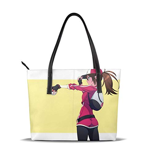 Cuero Bolso Poke Elf Go Anime Girl Long Hair Ball Leather Tote Shoulder Bags Handbags For Women Girl Or Student