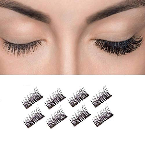 Joyphy Dual Magnetic Eyelashes, Lightweight & Easy to Wear No Glue 0.2mm Ultra Thin Magnet Best 3D Reusable Lashes Extensions with Tweezers (2 pairs)