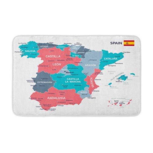 N / A Alfombra de baño Azul Aragón de España Mapa Gris Islas Baleares Barcelona Decoración de baño acogedora Alfombra de baño con Respaldo Antideslizante