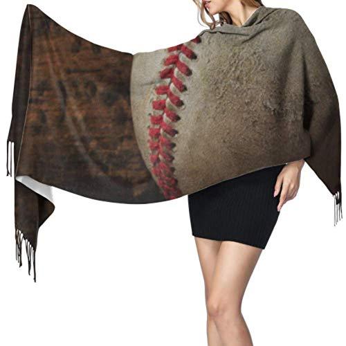 Bufanda de béisbol avanzada para adultos y jóvenes, para mujeres, chal largo, cachemira, 192 x 68 cm, grande, suave, extra cálida