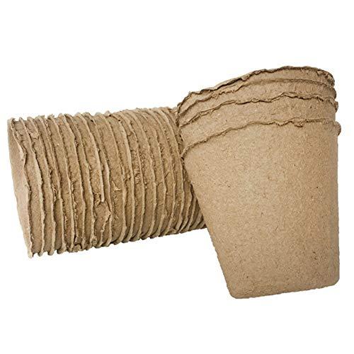 Austinstore Pflanzen-Starter-Torf-Töpfe, 100 Stück, für Gartenpflanzen, Kindergarten, Papiertöpfe, biologisch abbaubar, Setzling-Aufzuchtbecher, braun