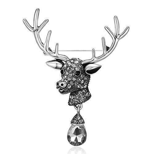 Cadoline Silver-Tone 5.5 x 7.0cm Silver Reindeer Head Crystal Tear Christmas Brooch Pin Black Clear New