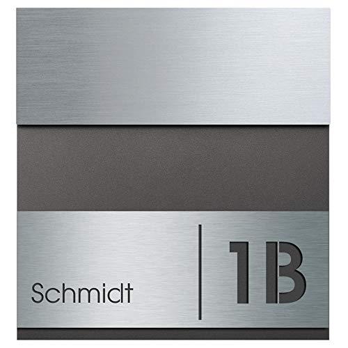 Briefkasten Edelstahl/anthrazit-eisenglimmer (DB 703) MOCAVI Box 580 Postkasten mit Hausnummer und Name Gravur, moderner Briefkasten rostfrei Edelstahl-Deckel V4A groß