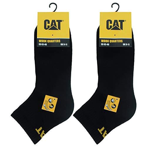 Caterpillar Quarter Socks 6 Pares Calcetines Trabajo Hombres, Altura Sobre Tobillo, Reforzados Puntera Talón, Algodón (Negro, 47-50)
