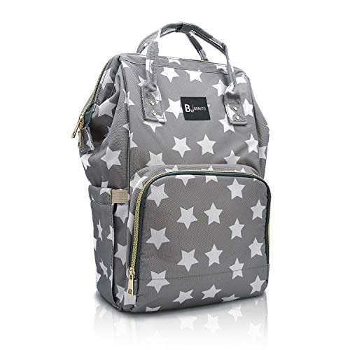 BB Bonito Wickeltasche Rucksack mit Sternen | Wickelrucksack grau Sterne | Lässige Babytasche Stern mit großer Kapazität | Reisetasche für Babys | Baby Rucksack mit Sternen