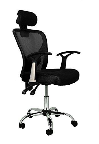Die spanische Stuhl Runde Bürostuhl mit Kopfstütze 66x62x125 cm Schwarz