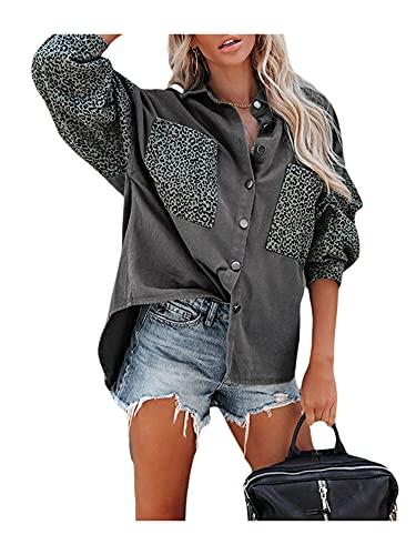 Camisa de mezclilla para mujer, chaqueta de leopardo con botones de contraste y manga larga, abrigo vintage de camionero, gris, Large