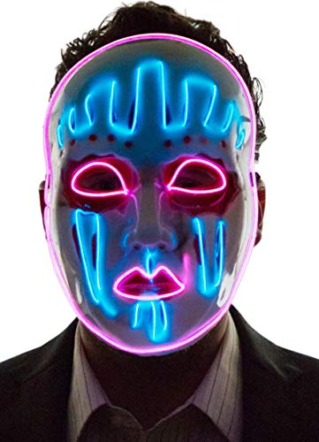 NEON NIGHTLIFE Light Up Joker Mask Puppet Painted Face Mask, Blue & Pink