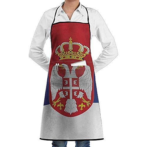 Welle serbische Flagge Schürze Lace Unisex Mens Womens Chef verstellbare Polyester lange Küche Schürzen Lätzchen