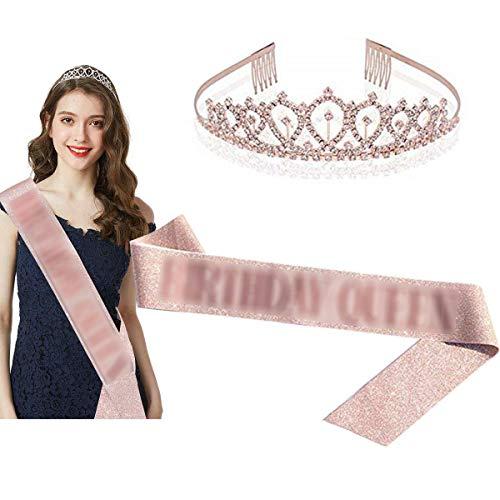 Tangger Rose Gold Birthday Queen Schärpe und Krone,Rosa Geburtstag Schärpe Mädchen Geburtstagskrone Diamantkrone Geburtstagsfeier Dekoration Zubehör für Girls