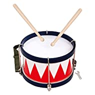 Bino 86583 Kids, Multicolour. Tin Snare Marching Two Wooden Drum Sticks and Strap. Suitable for Children from 36 Months. Diameter aprox. 24 cm
