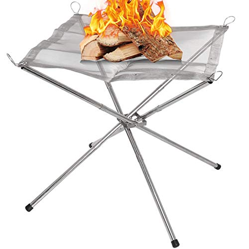 Finderomend Portable Fire Pit for Camping Outdoor Bonfire Pit 16.5 Inch Camping Fire Place Stand with Stainless Steel, for Campfire, Outdoor, Patio, Backyard and Garden- Include Carry Bag
