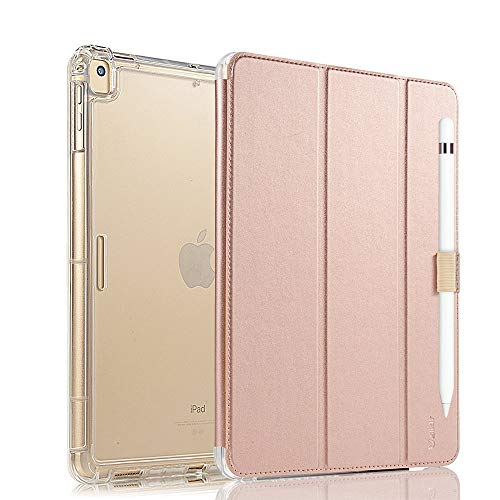 Valkit iPad Pro 12.9 Case 2017/2015 (Old Model,1st & 2nd Gen) - iPad Pro 12.9 Inch Cover Smart Folio Stand Protective Heavy Duty Rugged Armor Cases with Auto Wake/Sleep & Pencil Holder, Rose Gold
