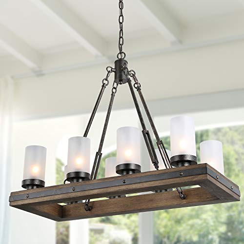 LNC A03487 Wood Chandelier Kitchen Island Lighting for Dining Rooms, Restraunt, Cafe, Bar Counter, Model