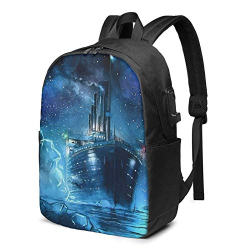 Hdadwy Ti-Tani-C USB Backpack Carry On Bags 17 in Laptop Backpack for Travel School Business