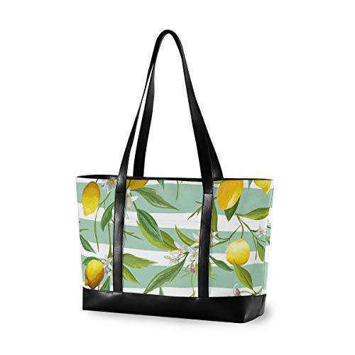 Laptop-Tragetasche für Damen, groß, Zitronenbaum, Blau und Weiß, aus Leinen, Schultertasche für 39,6 cm (15,6 Zoll), für Arbeit, Schule, Trekking, Einkaufen