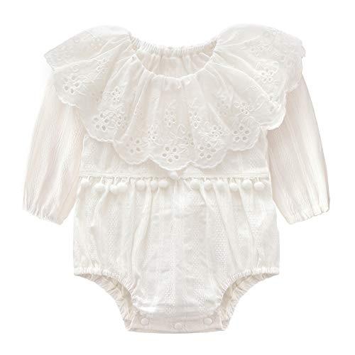 Niño recién nacido 90cm del algodón del bebé del mono de la colmena del mameluco del mono del mono de manga larga traje ropa blanca